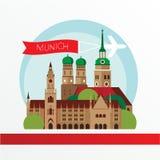De horizon van München, gedetailleerd silhouet In vectorillustratie Stock Foto