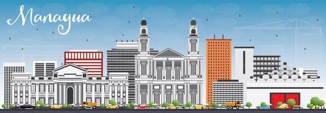 De Horizon van Managua met Gray Buildings en Blauwe Hemel vector illustratie