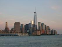 De horizon van Manhattan in de Avond, New York Royalty-vrije Stock Foto