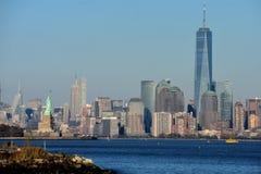 De Horizon van Manhattan in Hudson River royalty-vrije stock foto