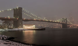 De Horizon van Manhattan, Sneeuwstorm Stock Afbeeldingen
