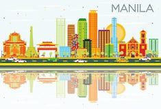 De Horizon van Manilla met Kleurengebouwen, Blauwe Hemel en Bezinningen Stock Foto's