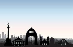De horizon van Mexico-City Cityscape de Reisachtergrond van het oriëntatiepuntsilhouet royalty-vrije illustratie