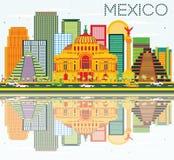 De Horizon van Mexico met Kleurengebouwen, Blauwe Hemel en Bezinningen royalty-vrije illustratie