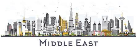 De Horizon van de Midden-Oostenstad met Kleurengebouwen op Wit wordt geïsoleerd dat royalty-vrije illustratie