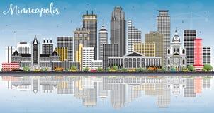 De Horizon van Minneapolis Minnesota de V.S. met Kleurengebouwen, Blauwe Hemel stock illustratie