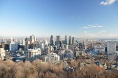 De horizon van Montreal in de winter Stock Foto