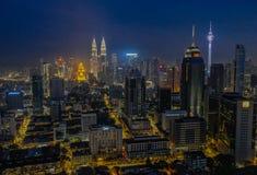 De horizon van de nacht van Kuala Lumpur stock foto