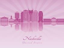 De horizon van Nashville in purpere stralende orchidee Stock Afbeeldingen