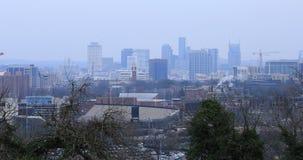 De horizon van Nashville, Tennessee op nevelige ochtend 4K stock video