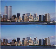 De horizon van New York Manhattan - Before and after 9/11 royalty-vrije stock afbeeldingen