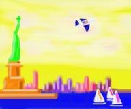 De Horizon van New York Manhattan het Abstracte Schilderen Royalty-vrije Stock Afbeeldingen