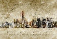 De horizon van New York in moderne en abstracte wijnoogst ziet eruit Stock Fotografie