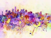 De horizon van New York op waterverfachtergrond Stock Afbeeldingen