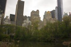 De horizon van New York uit het Central Park wordt genomen dat Stock Fotografie