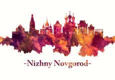 De horizon van Nizhny Novgorod Rusland in rood stock illustratie