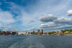 De Horizon van Oslo met Townhall, Noorwegen Royalty-vrije Stock Afbeelding