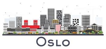 De Horizon van Oslo Noorwegen met Gray Buildings Isolated op Witte Backgr Stock Foto's