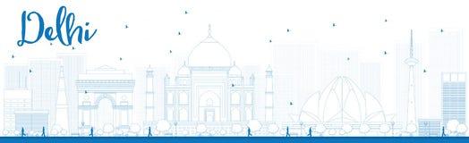 De horizon van overzichtsdelhi met blauwe oriëntatiepunten Stock Afbeeldingen