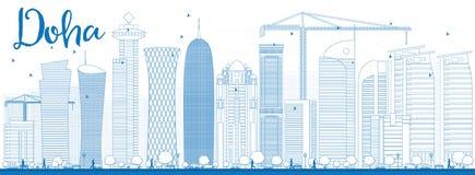 De horizon van overzichtsdoha met blauwe wolkenkrabbers Royalty-vrije Stock Afbeeldingen