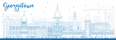 De Horizon van overzichtsgeorgetown met Blauwe Gebouwen Stock Afbeeldingen