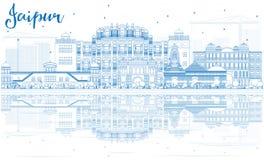 De Horizon van overzichtsjaipur met Blauwe Oriëntatiepunten en Bezinningen Royalty-vrije Stock Foto's