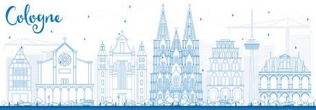 De Horizon van overzichtskeulen met Blauwe Gebouwen Royalty-vrije Stock Afbeeldingen