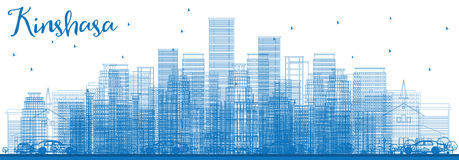 De Horizon van overzichtskinshasa met Blauwe Gebouwen Stock Afbeelding