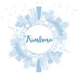 De Horizon van overzichtskinshasa met Blauwe Gebouwen en Exemplaarruimte Royalty-vrije Stock Afbeeldingen