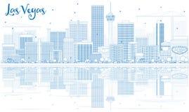 De Horizon van overzichtslas vegas met Blauwe Gebouwen en Bezinningen Royalty-vrije Stock Fotografie