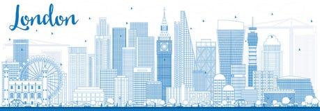 De horizon van overzichtslonden met blauwe gebouwen Stock Afbeelding