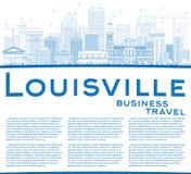 De Horizon van overzichtslouisville met Blauwe Gebouwen en Exemplaarruimte Stock Afbeeldingen