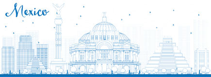 De horizon van overzichtsmexico met blauwe oriëntatiepunten stock illustratie
