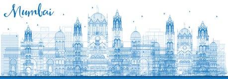 De Horizon van overzichtsmumbai met Blauwe Oriëntatiepunten stock illustratie