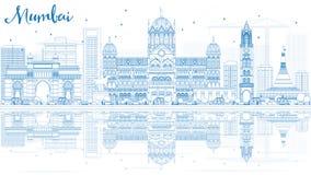 De Horizon van overzichtsmumbai met Blauwe Oriëntatiepunten en Bezinningen vector illustratie
