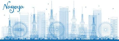 De Horizon van overzichtsnagoya met Blauwe Gebouwen Stock Afbeeldingen