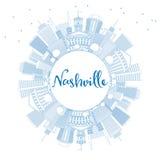 De Horizon van overzichtsnashville met Blauwe Gebouwen en Exemplaarruimte Stock Foto