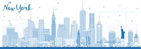 De Horizon van overzichtsnew york de V.S. met Blauwe Gebouwen Stock Foto's