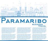 De Horizon van overzichtsparamaribo met Blauwe Gebouwen en Exemplaarruimte Stock Foto