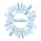 De Horizon van overzichtsphiladelphia met Blauwe Gebouwen en Exemplaarruimte Stock Fotografie