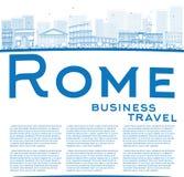 De horizon van overzichtsrome met blauwe oriëntatiepunten en exemplaarruimte Royalty-vrije Stock Afbeelding