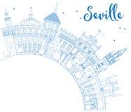 De Horizon van overzichtssevilla met Blauwe Gebouwen en Exemplaarruimte Royalty-vrije Stock Afbeelding