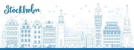De Horizon van overzichtsstockholm met Blauwe Gebouwen Royalty-vrije Stock Foto's