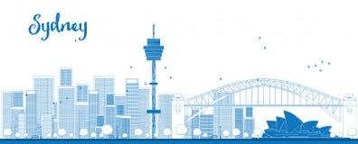 De horizon van overzichtssydney city met wolkenkrabbers Stock Afbeelding