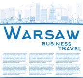 De horizon van overzichtswarshau met blauwe gebouwen en exemplaarruimte Stock Afbeeldingen