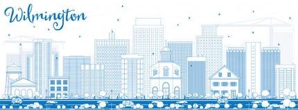 De Horizon van overzichtswilmington met Blauwe Gebouwen Royalty-vrije Stock Afbeelding