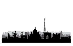 De Horizon van Parijs van Notre Dame de Paris Cityscape van Parijs met beroemde oriëntatiepunten en buildin Stock Afbeeldingen