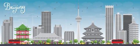 De Horizon van Peking met Gray Buildings en Blauwe Hemel royalty-vrije illustratie