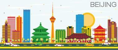 De Horizon van Peking met Kleurengebouwen en Blauwe Hemel royalty-vrije illustratie