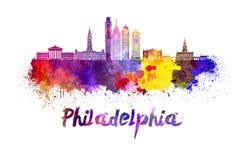 De horizon van Philadelphia in waterverf vector illustratie